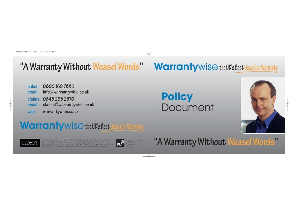 quot;A Warranty Without Weasel Wordsquot; Warrantywise the UK's Best Used Car Warranty   sales:     0800 169 7880   email:...