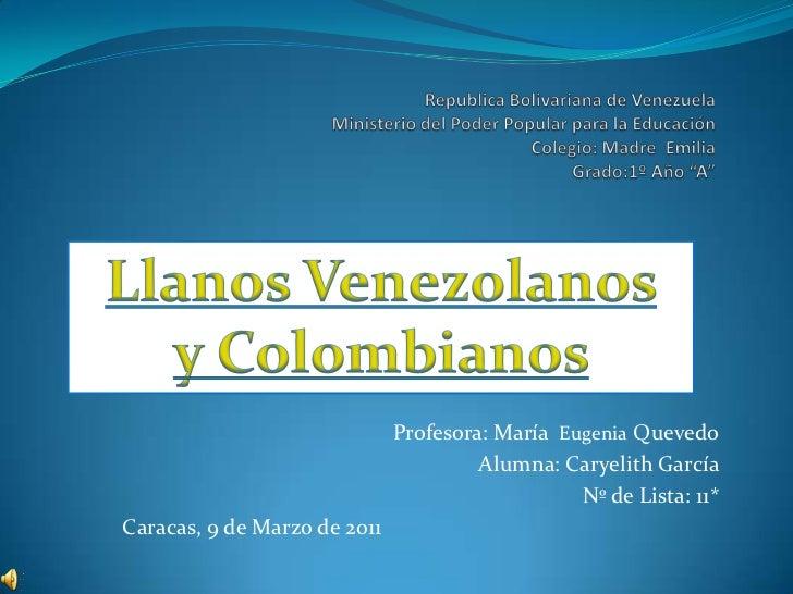 """Republica Bolivariana de Venezuela Ministerio del Poder Popular para la Educación Colegio: Madre  Emilia Grado:1º Año """"A""""<..."""