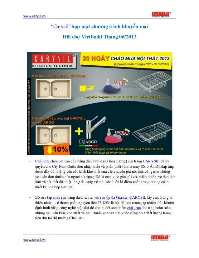 """www.carysil.vnwww.carysil.vn""""Carysil"""" họp mặt chương trình khuyến mãiHội chợ Vietbuild Tháng 06/2013- Chậu rửa chén bát ca..."""