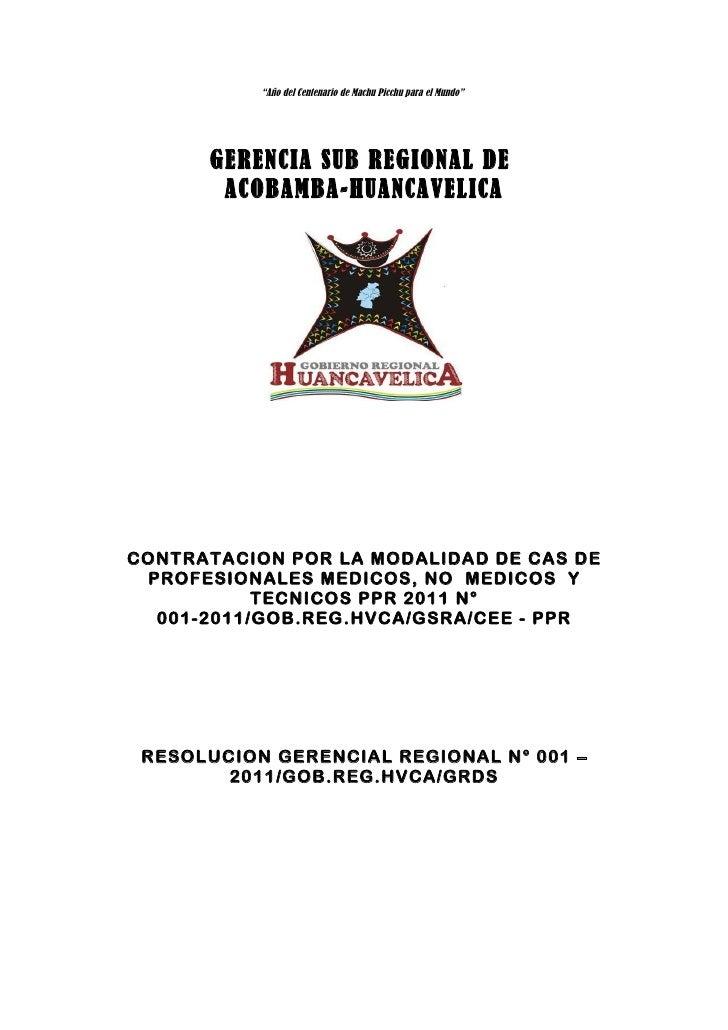 """""""Año del Centenario de Machu Picchu para el Mundo""""      GERENCIA SUB REGIONAL DE       ACOBAMBA-HUANCAVELICACONTRATACION P..."""