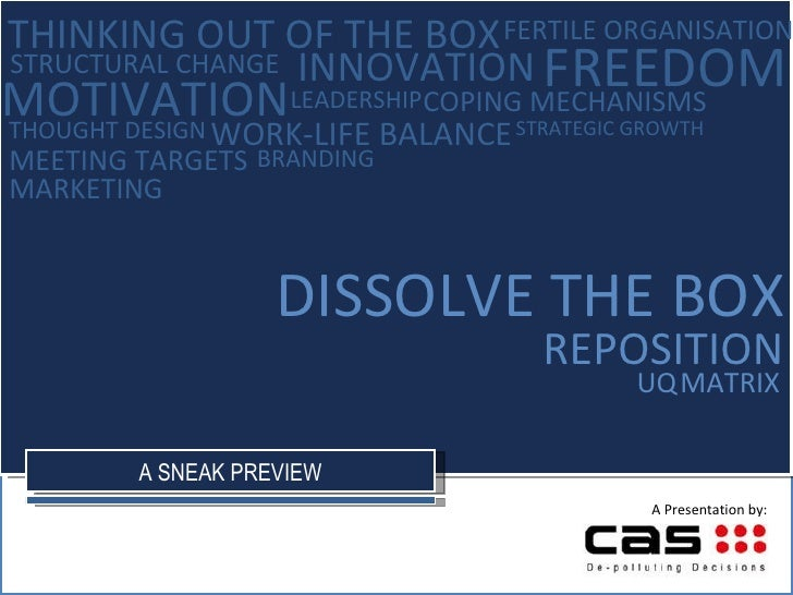 UQ   MATRIX DISSOLVE THE BOX REPOSITION INNOVATION THOUGHT DESIGN LEADERSHIP FREEDOM MOTIVATION THINKING OUT OF THE BOX FE...