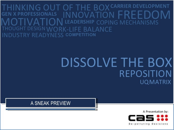 UQ   MATRIX DISSOLVE THE BOX REPOSITION INNOVATION THOUGHT DESIGN LEADERSHIP FREEDOM MOTIVATION THINKING OUT OF THE BOX CA...