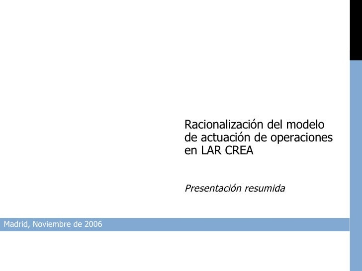 Madrid, Noviembre de 2006 Racionalización del modelo de actuación de operaciones en LAR CREA Presentación resumida