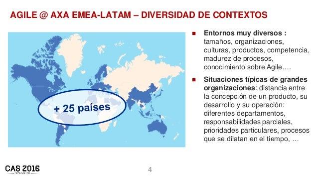 4 AGILE @ AXA EMEA-LATAM – DIVERSIDAD DE CONTEXTOS  Entornos muy diversos : tamaños, organizaciones, culturas, productos,...