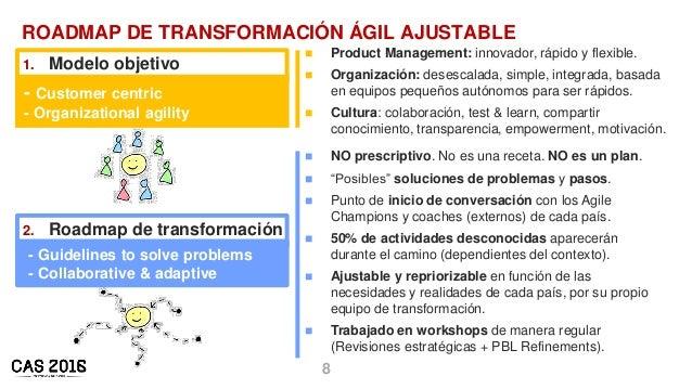 8 ROADMAP DE TRANSFORMACIÓN ÁGIL AJUSTABLE 1. Modelo objetivo - Customer centric - Organizational agility 2. Roadmap de tr...