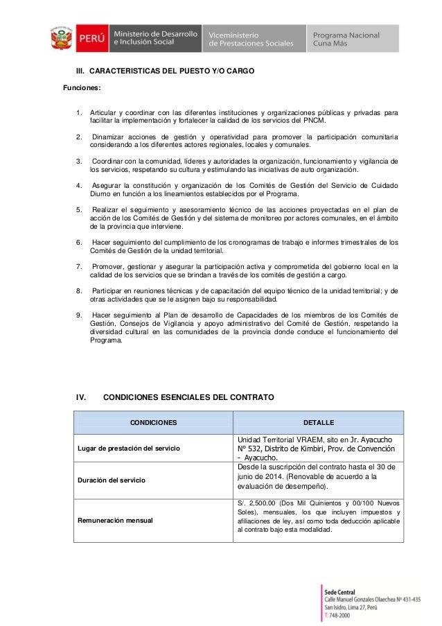 III. CARACTERISTICAS DEL PUESTO Y/O CARGO Funciones: 1. Articular y coordinar con las diferentes instituciones y organizac...