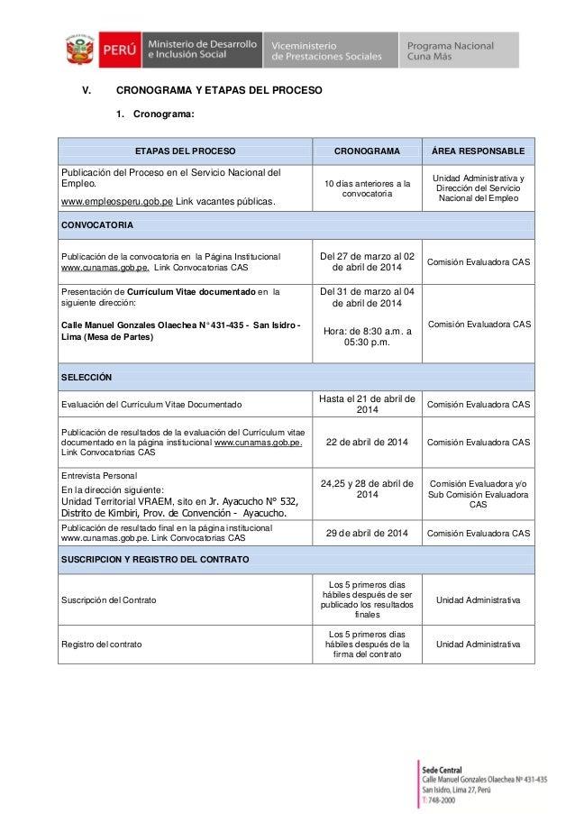V. CRONOGRAMA Y ETAPAS DEL PROCESO 1. Cronograma: ETAPAS DEL PROCESO CRONOGRAMA ÁREA RESPONSABLE Publicación del Proceso e...