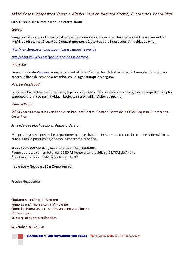 Ranchos y Construcciones M&M | RANCHOSCOSTARICA.COMM&M Casas Campestres Vende o Alquila Casa en Paquera Centro, Puntarenas...