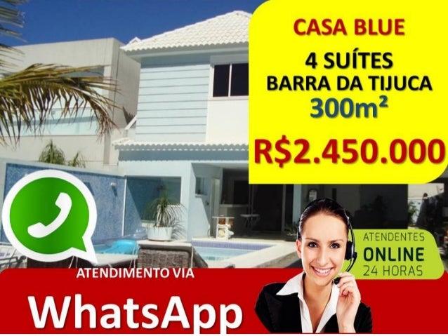 DESCRIÇÃO • CONDOMÍNIO BLUE HOUSE • RUA CESAR LATTES – BARRA DA TIJUCA • CASA DUPLEX COM SÓTÃO • 300M² DE ÁREA INTERNA • 4...