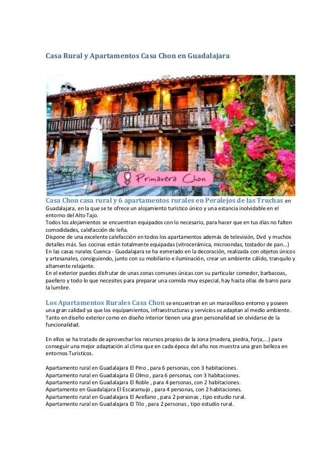 Casa Rural y Apartamentos Casa Chon en Guadalajara Casa Chon casa rural y 6 apartamentos rurales en Peralejos de las Truch...