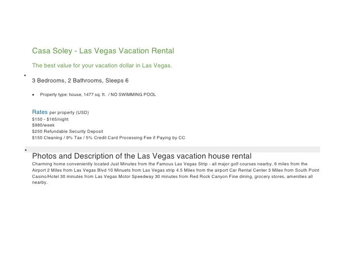 Casa Soley - Las Vegas Vacation Rental     The best value for your vacation dollar in Las Vegas.      3 Bedrooms, 2 Bathr...