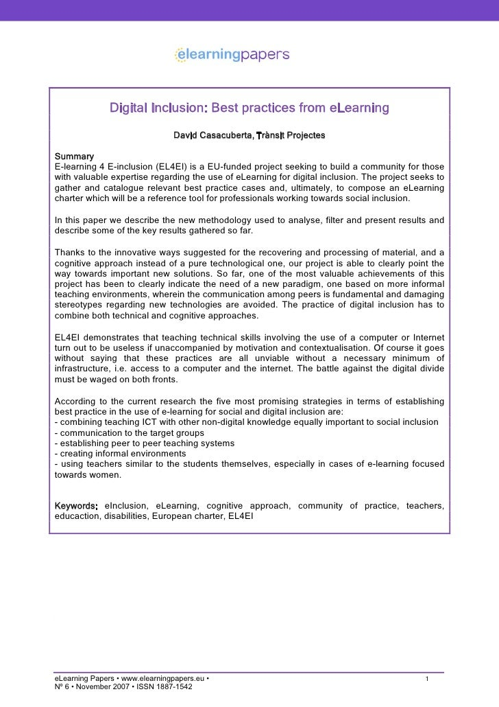 Digital Inclusion: Best practices from eLearning                                  David Casacuberta, Trànsit Projectes  Su...