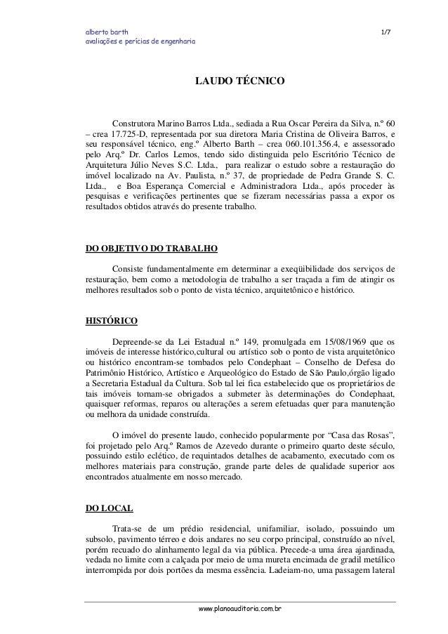 alberto barth 1/7 avaliações e perícias de engenharia LAUDO TÉCNICO Construtora Marino Barros Ltda., sediada a Rua Oscar P...