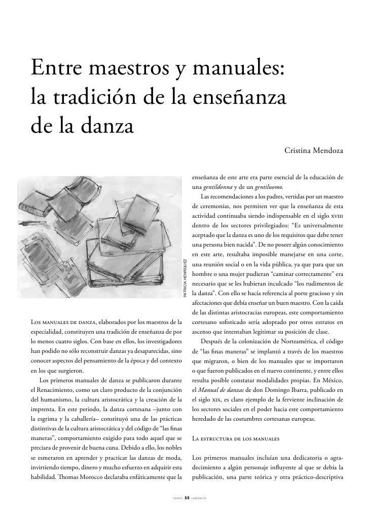 Entre maestros y manuales: la tradición de la enseñanza de la danza                                                       ...