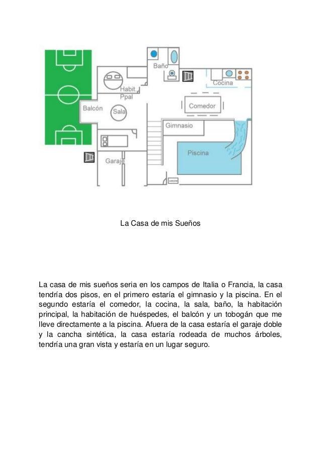La Casa de mis SueñosLa casa de mis sueños seria en los campos de Italia o Francia, la casatendría dos pisos, en el primer...