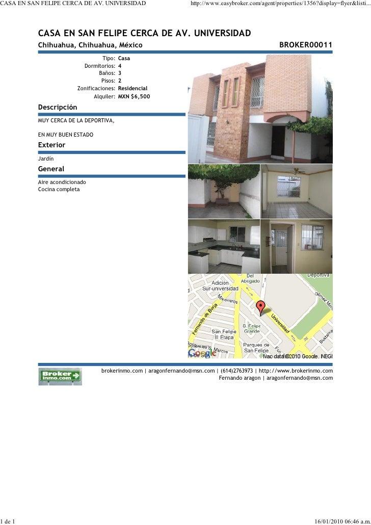 CASA EN SAN FELIPE CERCA DE AV. UNIVERSIDAD                       http://www.easybroker.com/agent/properties/1356?display=...