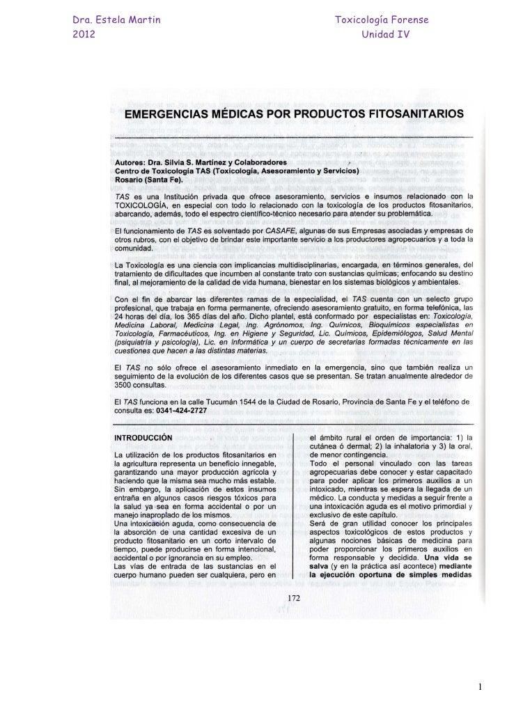 Dra. Estela Martin   Toxicología Forense2012                      Unidad IV                                           1