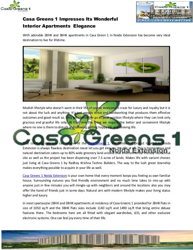 Casa Greens 1 Impresses Its Wonderful Interior Apartments Elegance With adorable 2BHK and 3BHK apartments in Casa Green 1 ...