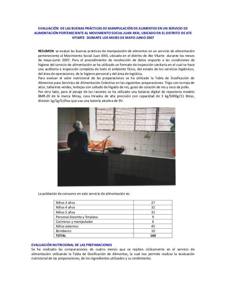 EVALUACIÓN DE LAS BUENAS PRÁCTICAS DE MANIPULACIÓN DE ALIMENTOS EN UN SERVICIO DE ALIMENTACIÓN PERTENECIENTE AL MOVIMIENTO...
