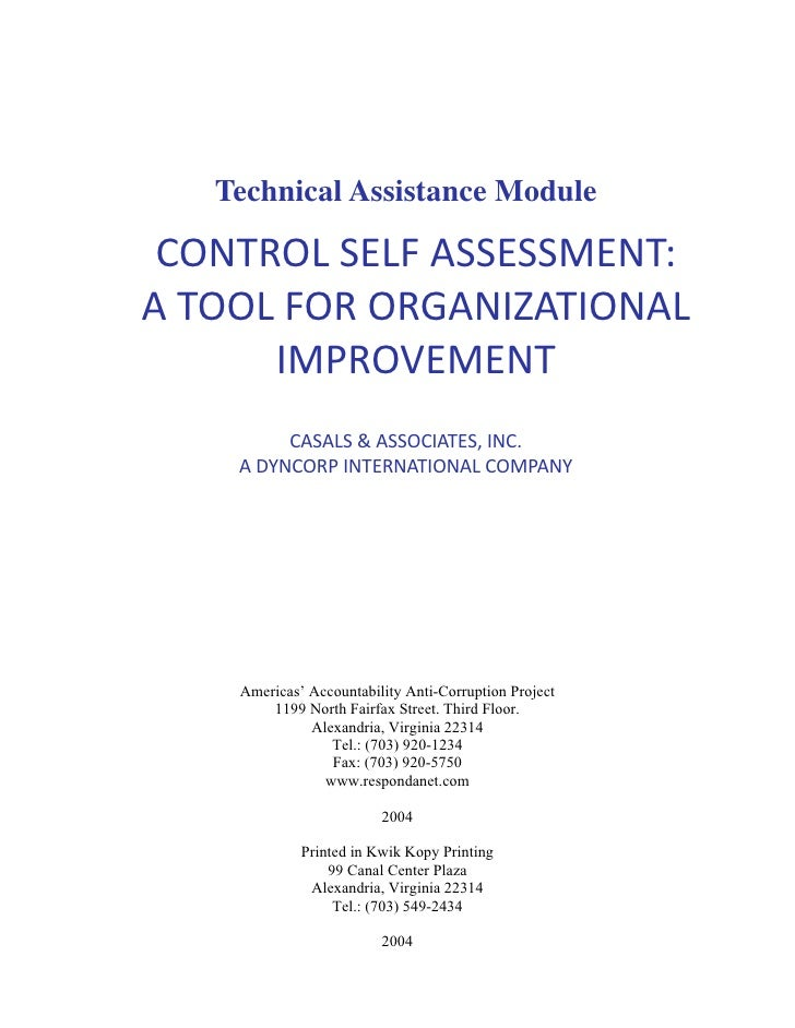 control self assessment essays Quality control self-assessment measuring the effectiveness of your quality control program this document is designed to help you manage your risk and comply with fannie mae's selling guide requirements, and.
