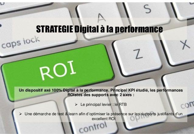 STRATEGIE Digital à la performance Un dispositif axé 100% Digital à la performance. Principal KPI étudié, les performances...