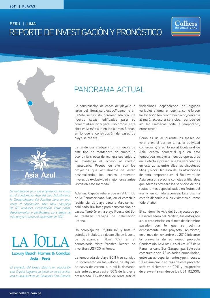 2011 | playasPERÚ | Limareporte de INVeStIGACIÓN y proNÓStICo                                                 PANORAMA ACT...