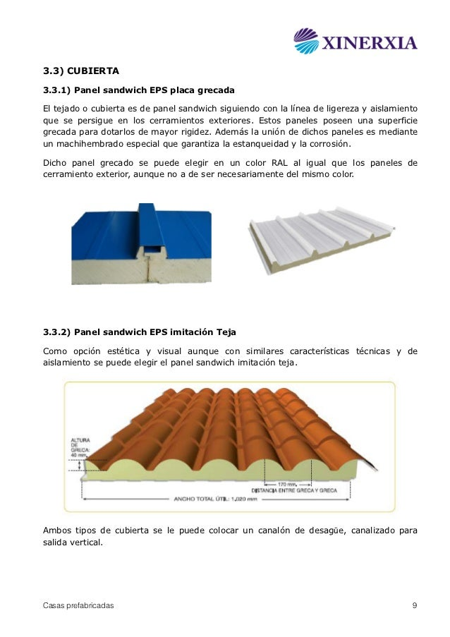 Casas prefabricadas panel sandwich xinerxia for Aislamiento tejados tipos