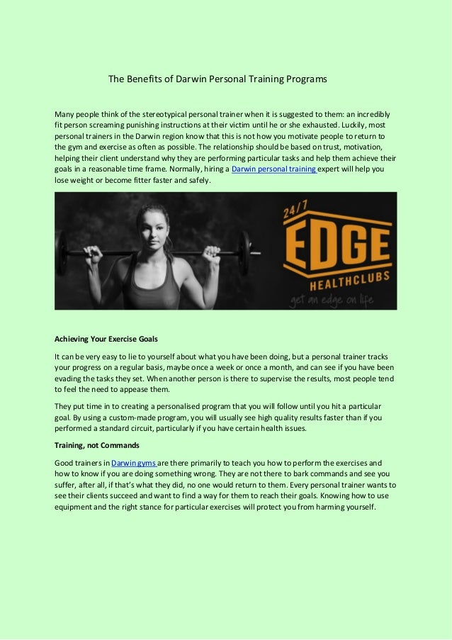 The Benefits of Darwin Personal Training Programs Many people think of the stereotypical personal trainer when it is sugge...