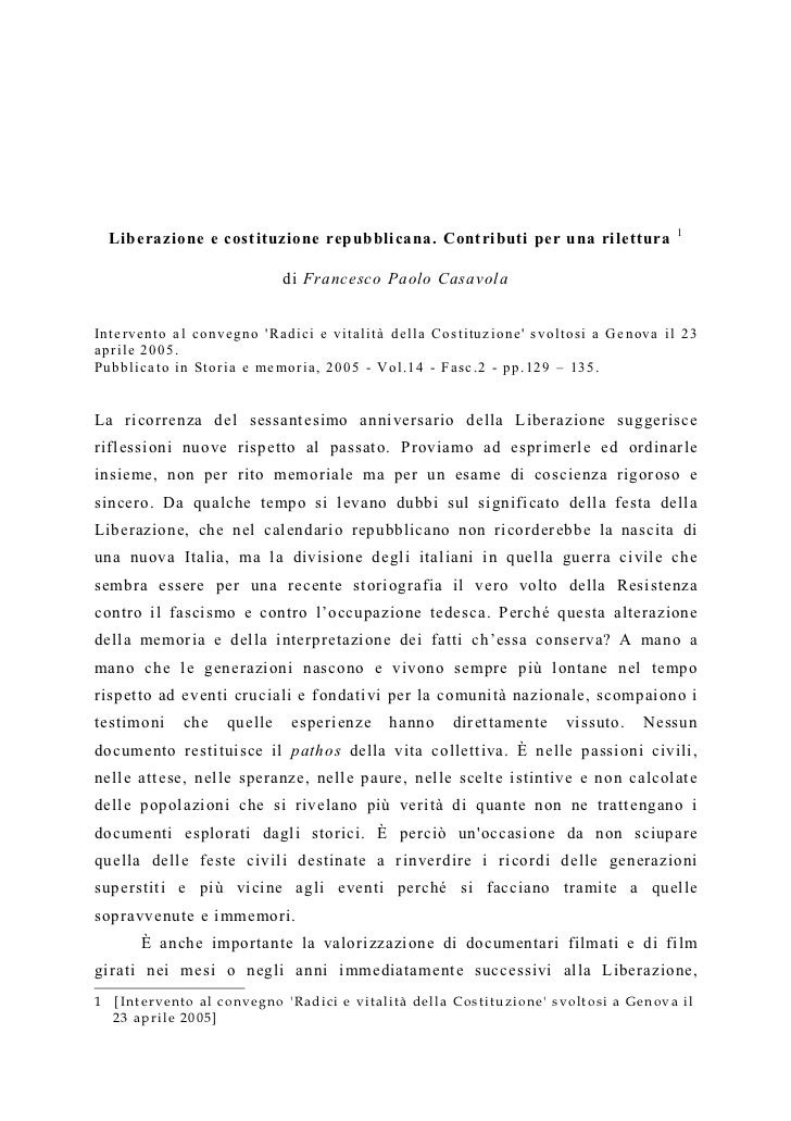 1    Liberazione e costituzione repubblicana. Contributi per una rilettura                                   di Francesco ...