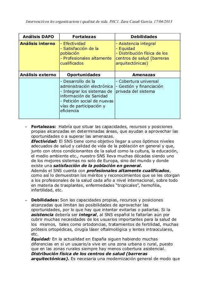 Intervenció en les organitzacions i qualitat de vida. PAC1. Zara Casañ García. 17/04/2013Análisis DAFO Fortalezas Debilida...