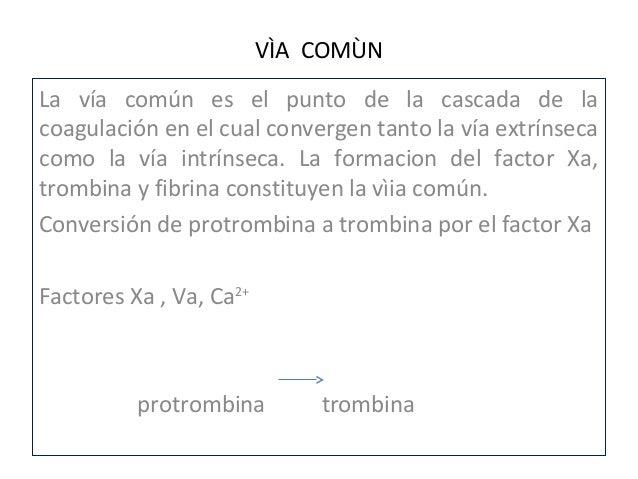 • Escisiòn del fibrinogeno a fibrina por medio de  trombina                                 Trombina                      ...