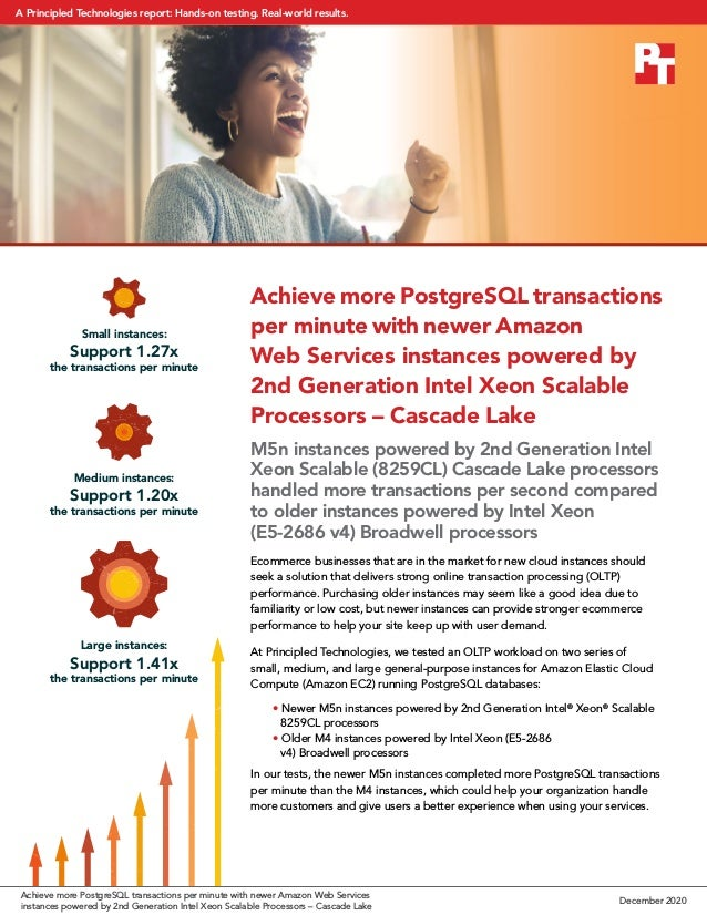 Achieve more PostgreSQL transactions per minute with newer Amazon Web Services instances powered by 2nd Generation Intel X...