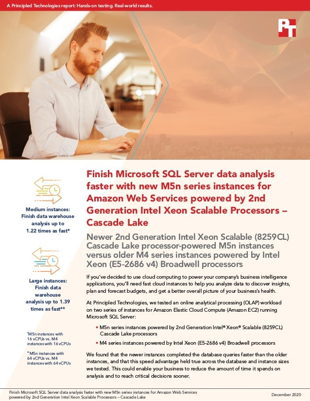 Finish Microsoft SQL Server data analysis faster with new M5n series instances for Amazon Web Services powered by 2nd Gene...