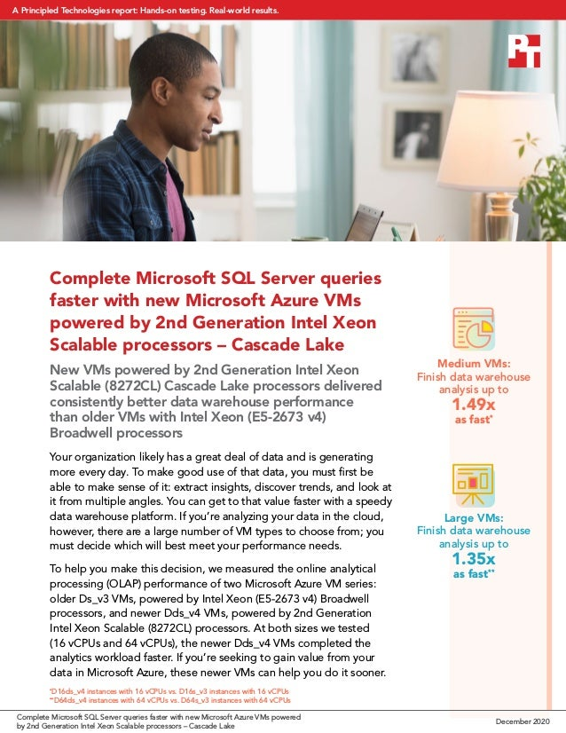 Complete Microsoft SQL Server queries faster with new Microsoft Azure VMs powered by 2nd Generation Intel Xeon Scalable pr...