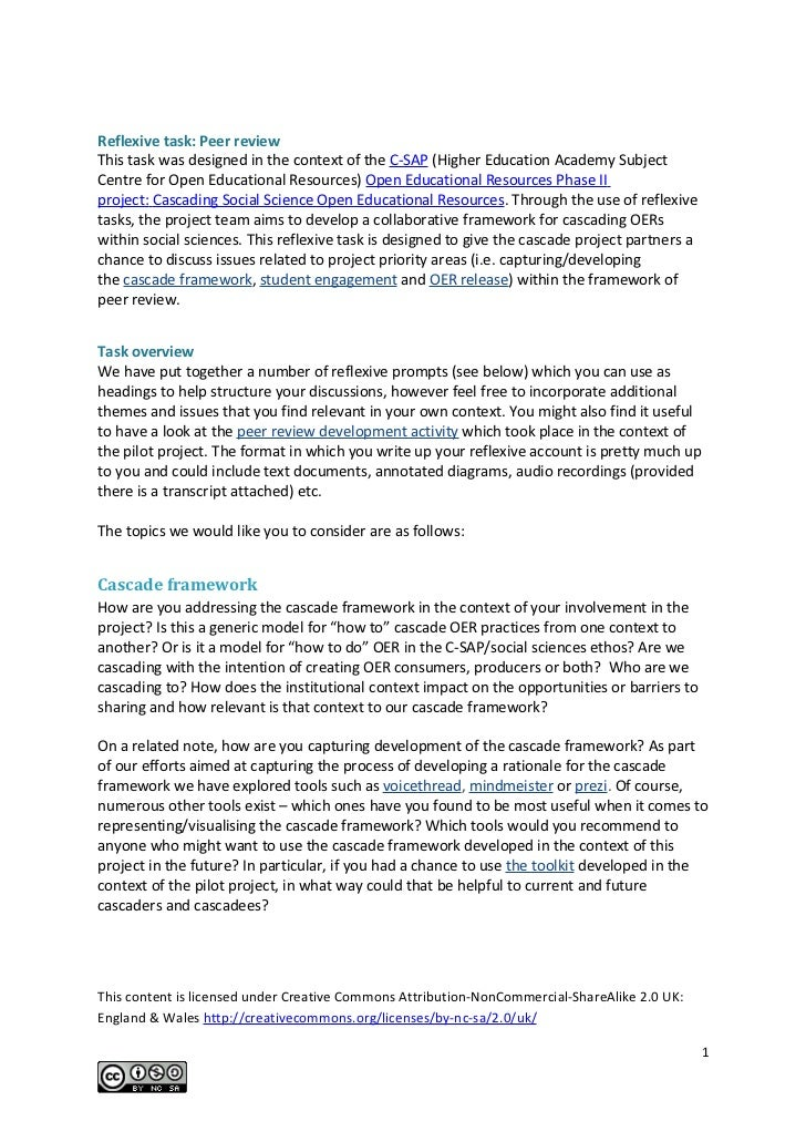 Reflexive task: Peer reviewThis task was designed in the context of the C-SAP (Higher Education Academy SubjectCentre for ...