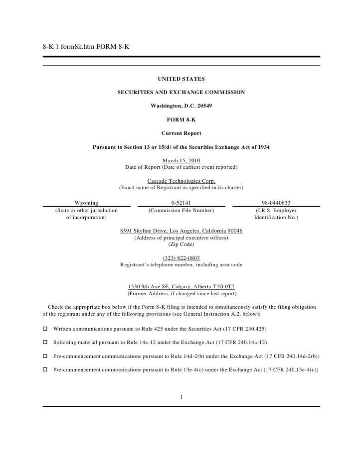 8-K 1 form8k.htm FORM 8-K <br />UNITED STATES<br /><br />SECURITIES AND EXCHANGE COMMISSION<br /><br />Washington, D.C. ...