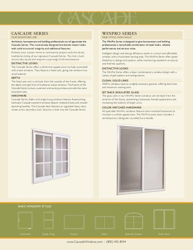 Cascade window winpro brochure for Homeowner selection sheet