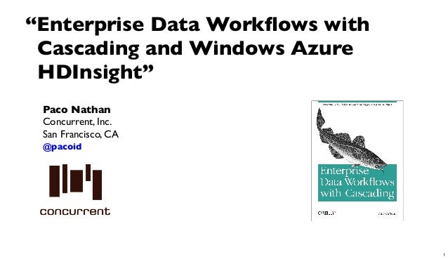 "Paco NathanConcurrent, Inc.San Francisco, CA@pacoid""Enterprise Data Workflows withCascading and Windows AzureHDInsight""1"