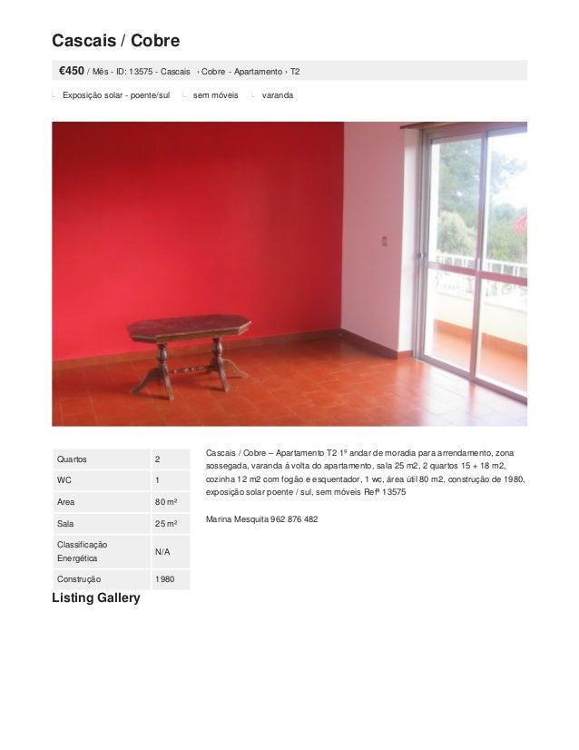 Cascais / Cobre €450 / Mês - ID: 13575 - Cascais › Cobre - Apartamento › T2 Exposição solar - poente/sul sem móveis varand...