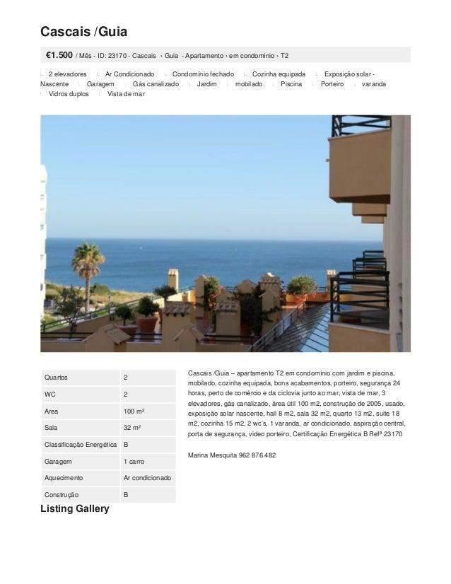 Cascais /Guia €1.500 / Mês - ID: 23170 - Cascais › Guia - Apartamento › em condomínio › T2 2 elevadores Ar Condicionado Co...