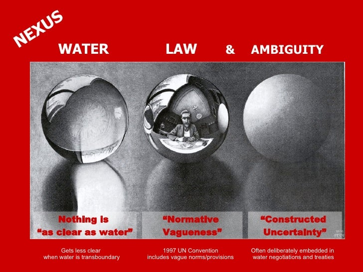 """WATER  LAW  &   AMBIGUITY NEXUS Nothing is  """" as clear as water"""" """" Normative  Vagueness"""" Gets less clear  when water is tr..."""