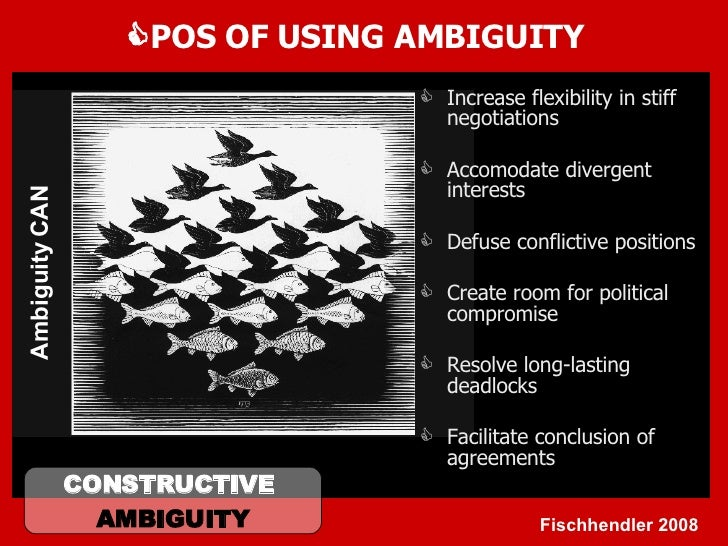  POS OF USING AMBIGUITY <ul><li>Increase flexibility in stiff negotiations </li></ul><ul><li>Accomodate divergent interes...