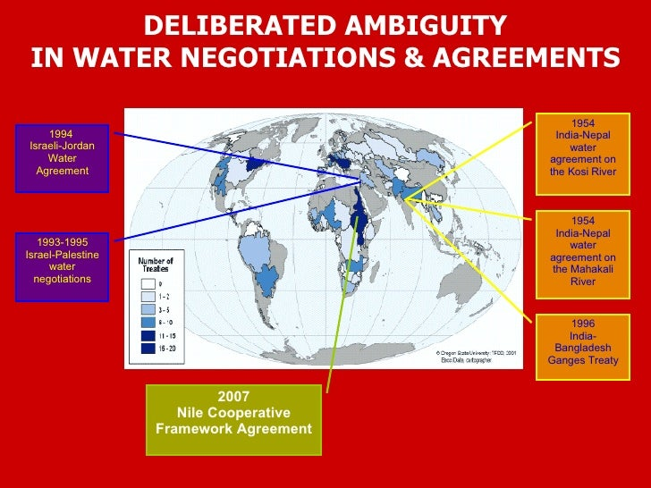 DELIBERATED AMBIGUITY IN WATER NEGOTIATIONS & AGREEMENTS 1994  Israeli-Jordan Water Agreement 1993-1995 Israel-Palestine w...