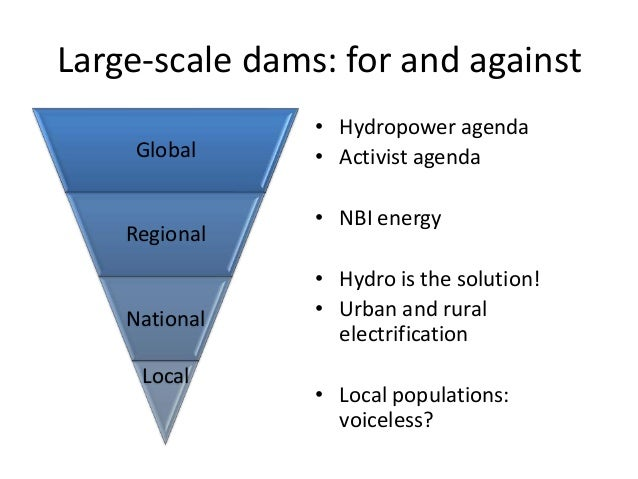 Large-scale dams: for and against                • Hydropower agenda    Global      • Activist agenda                • NBI...
