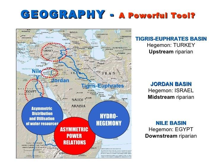 GEOGRAPHY -  A Powerful Tool? Nile Jordan Tigris-Euphrates TIGRIS-EUPHRATES BASIN Hegemon: TURKEY Upstream  riparian JORDA...