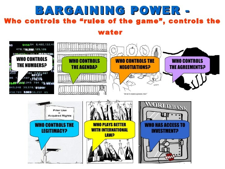 """BARGAINING POWER - Who controls the """"rules of the game"""", controls the water   WHO CONTROLS THE NEGOTIATIONS? WHO CONTROLS ..."""