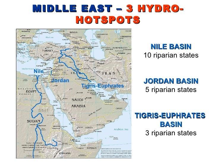 MIDLLE EAST –  3 HYDRO-HOTSPOTS Nile Jordan Tigris-Euphrates NILE BASIN 10 riparian states JORDAN BASIN 5 riparian states ...