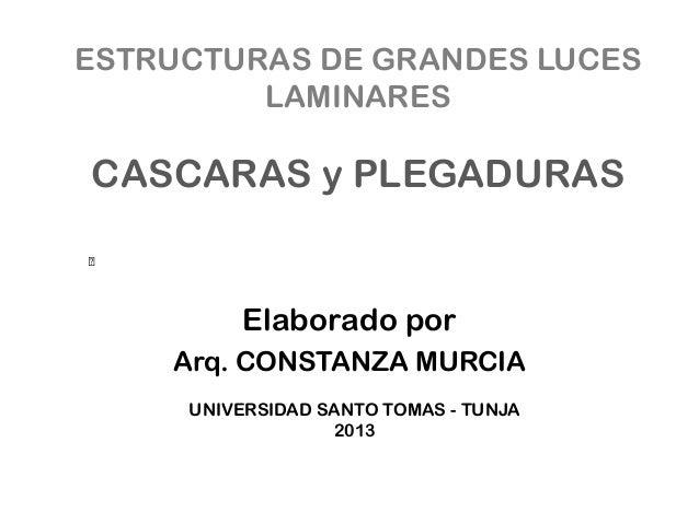 ESTRUCTURAS DE GRANDES LUCES LAMINARES CASCARAS y PLEGADURAS Elaborado por Arq. CONSTANZA MURCIA UNIVERSIDAD SANTO TOMAS -...
