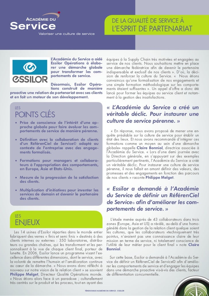 DE LA QUALITÉ DE SERVICE À                                                                            L'ESPRIT DE PARTENAR...