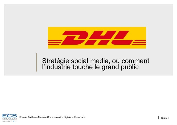 Stratégie social media, ou comment l'industrie touche le grand public PAGE  Romain Tarillon – Mastère Communication digita...